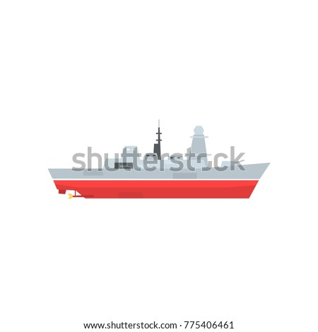 Naval Armed Ship Radar Antenna Military Vector de stock (libre de ...