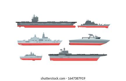 Naval Combat Ships Collection, Military Boat, Frigate, Battleship Vector Illustration