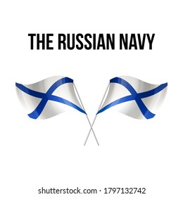 Naval flag of the Russia symbol isolated on background national banner. Greeting card National Independence Day Russian Federation. Illustration banner with realistic naval flag the Russian Federation