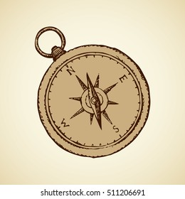 Naval grunge pocket Compass with star wind rose isolated on white backdrop. Freehand outline ink hand drawn picture sketchy in art engraving style pen on paper. Closeup view with space for text