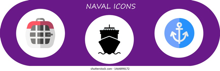 naval icon set. 3 flat naval icons.  Simple modern icons about  - carrier, cruise, anchor
