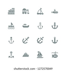 naval icon set. Collection of 16 filled naval icons included Submarine, Sailboat, Boat, Anchor