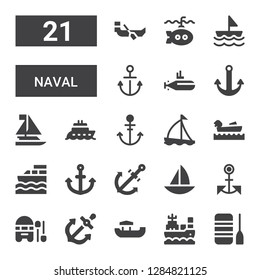 naval icon set. Collection of 21 filled naval icons included Boat, Anchor, Boating, Sailboat, Submarine