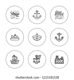 Naval icon set. collection of 9 outline naval icons with anchor icons. editable icons.
