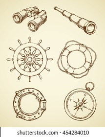 Naval schooner ocular, see spy glass, old shipswheel, frigate scuttle, sos life preserver isolated on white background. Freehand outline ink hand drawn picture sketch in art doodle retro graphic style