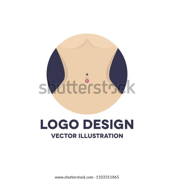 navel piercing vector icon