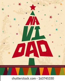 Navidad - Christmas spanish text - tree shape Vintage Christmas card