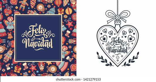 Navidad. Feliz navidad. Christmas banner. Xmas Background design shristmas greeting card. Merry Chrismas Happy Holyday. Xmas card on Spanish. Warm wishes for happy holidays in Spain. Winter decor
