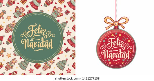 Navidad. Feliz navidad. Christmas banner. Xmas Background design shristmas greeting card. Merry Chrismas Happy Holyday. Xmas card on Spanish. Warm wishes for happy holidays in Spain. Winter decor