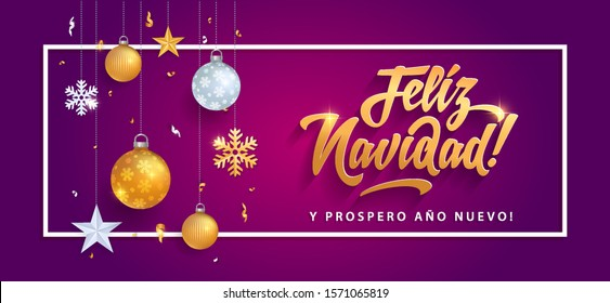navidad feliz navidad merry christmas in spanish language purple card template glitter gold elements snowflakes stars and calligraphy navidad happy colour vacation star party abstract holiday backgrou