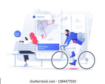 Navigation app with map and location pin. Fitness and Tracking Mobile Applications Concept. People chat and explore the route using smartphones. Isometric illustration.