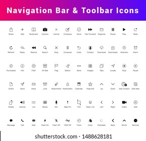 Navigation bar and tab bar icon set. Mobile app UI Kit, Line icons isolated for all mobile platform apps. Flat Mobile Web UI Kit. home, search, internet, delete, contact, alarm, play line icons etc.