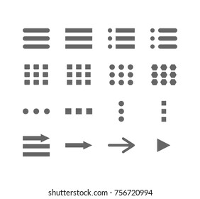Navigation buttons sign collection. Arrows and hamburger buttons