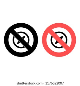Navigation and compas ban, prohibition icon. Simple glyph vector ofeducation for UI and UX, website or mobile application on white background