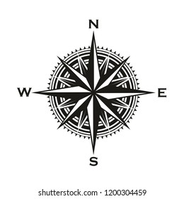 Navigation compass sign, Rose of Winds with direction arrows. Vector marine and nautical sailing cartography compass symbol with pointers to North, South, East and West