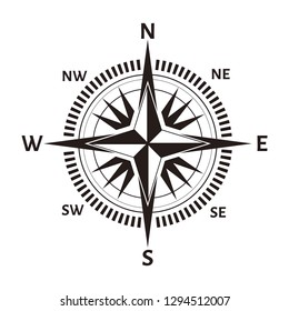Navigation compass or wind rose icon. Vector retro nautical or marine cartography map with North, South, West and East direction arrows