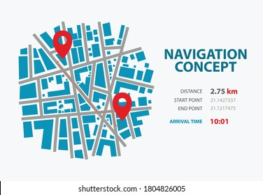 Navigation concept city map with point start and end