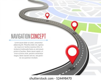Navigation concept with pin pointer vector illustration. Cartography mapping, ui pinning, discovery, geotag, tourism geolocation. GPS navigation system banner. Location pin on perspective city map.