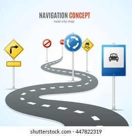 Navigation Concept. Road with Signs Traffic. Vector illustration