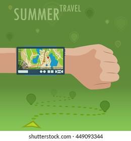 Navigation device on wrist. Hand with navigator. Smart GPS tool for summer travel. EPS10