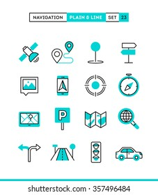 Navigation, direction, maps, traffic and more. Plain and line icons set, flat design, vector illustration