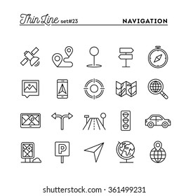 Navigation, direction, maps, traffic and more, thin line icons set, vector illustration