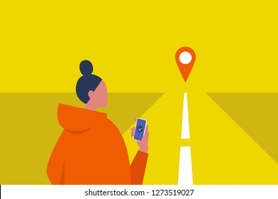 Navigation equipment. GPS geo tag. Young female character holding a smartphone. Traveller. Road. Waiting for a taxi. Flat editable vector illustration, clip art
