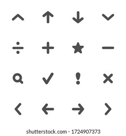 Navigation flat icons in gray. Set of 16 pieces.