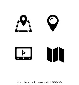 Navigation flat line icon. Compass, map. EPS vector format. Black & white icons optimized for both large and small resolutions. Transparent background.