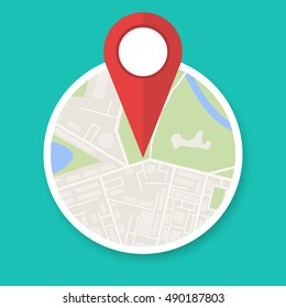 Navigation geolocation icon. Circle city map with red pin, vector illustration in flat design on green background