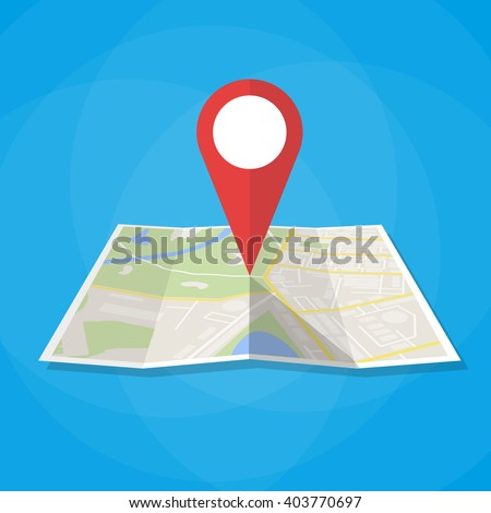 Navigation geolocation icon. Folded paper city map with red pin, vector illustration in flat design on blue background