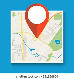 Navigation geolocation icon. square city map with red pin, vector illustration in flat design on blue background.