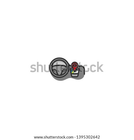 Navigation Gps Map Car Color Line Stock Vector (Royalty Free