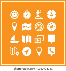 navigation icon. 16 navigation vector set. telephone location, radar, compass and map icons for web and design about navigation theme