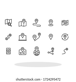 Navigation icon set in flat style. Location symbols for your web site design, logo, app, UI Vector EPS 10.