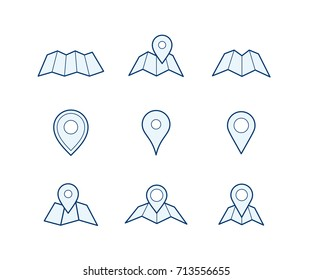 Navigation icon set. Map and geo pin icons. Make your own custom location pin icon for app or contact web page. Map with pin symbol vector icons. Navigation and route concept vector illustration