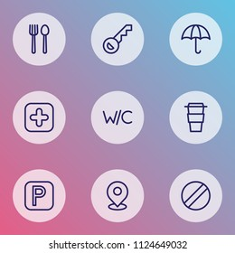 Navigation icons line style set with wc, key, coffee and other takeaway elements. Isolated vector illustration navigation icons.