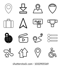Navigation icons. set of 16 editable outline navigation icons such as escalator down, road, finger pressing play button, location, disabled, location pin, distance, download