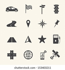 Navigation icons set on texture background. Vector