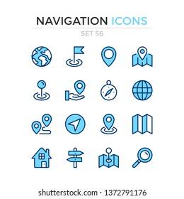 Navigationssymbole. Vektorliniensymbole gesetzt. Premium-Qualität. Einfaches Thin-Line-Design. Moderne Umrisssymbole, Piktogramme.