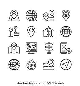Navigation line icons. Modern stroke, linear elements. Outline symbols collection. Premium quality. Vector thin line icons set