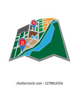 navigation map icon-location sign-gps icon-position sign-direction illustration-scanning vector