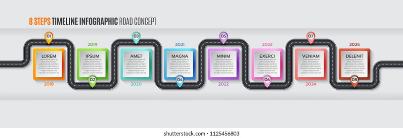 Navigation map infographic 8 steps timeline concept. Vector illustration winding road. Color swatches control