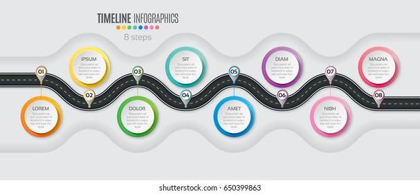 Navigation map infographic 8 steps timeline concept. Winding road. Vector illustration.
