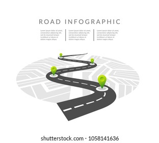 Navigation map infographic concept. Winding road. Vector illustration. Road infographic with colorful pin pointer vector illustration.