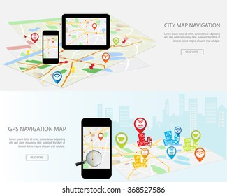 Navigation map on on modern digital devices. Modern set of flat design concepts with city map gps navigator on smartphone and tablet screen. Concepts web banner infographics and printed materials.
