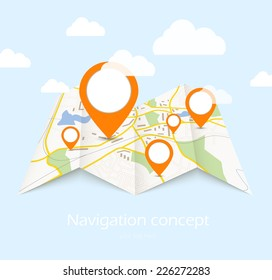 Navigation map with red pin pointer on blue background with cloud