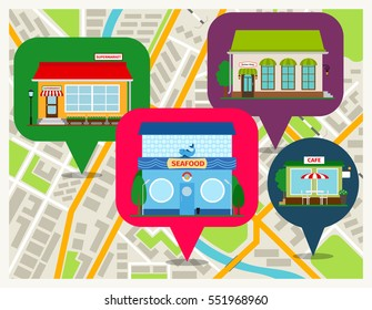 Navigation map with shops pins mobile app. Sea food restaurant, cafe and supermarket store fronts vector illustration.