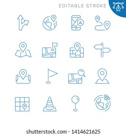 Navigation and maps related icons. Editable stroke. Thin vector icon set
