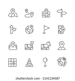 Navigation and maps related icons: thin vector icon set, black and white kit